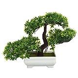 Merssavo Grün Bonsai-Baum in der quadratischen Topf-künstlichen Betriebsdekoration für Büro / Haus