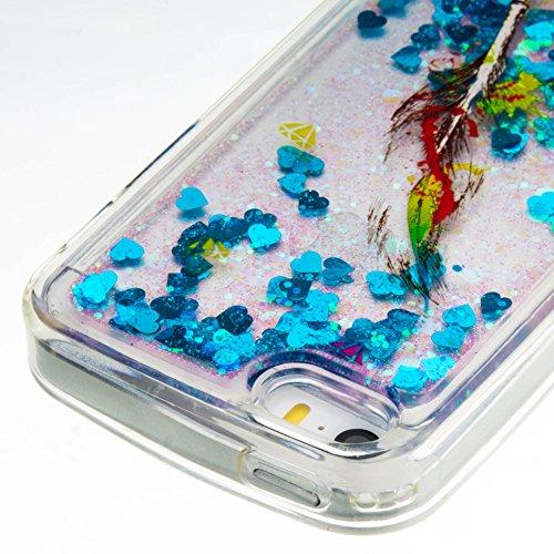 Per iPhone 5S/SE/5 Custodia Cover,SKYXD Lusso Bling Brillantini Glitter Strass Coperture Protettiva Trasparente Silicone Morbida TPU Gel Colorata Creativo 3D Disegni Flusso Liquido Sabbia Caso Case de Blu Piume