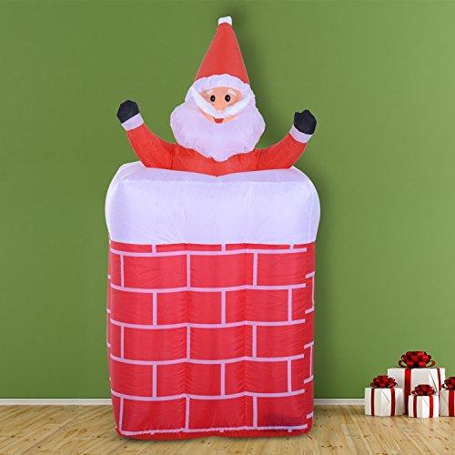 Papa Noel Chimenea Hinchable + 2 Infladores y Luz LED Decoracion Navidad Inflable