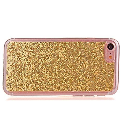 iPhone 7 Coque,iPhone 7 Housse en Silicone,JAWSEU Placage Luxe Fashion Brillante Mirior Tpu Case Cover,iPhone 7 Cristal Clair Ultra Mince Flex Soft Gel Bumper housse Etui de Protection,Bling Sparkle M gold#