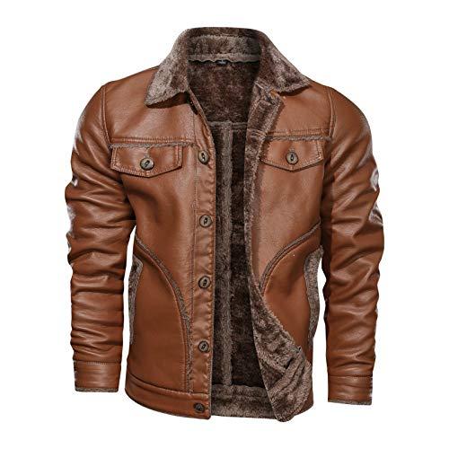 GQDP Jacke Winter Large Size Fur One Coat Herren Revers Plus Velvet Herren Casual Leder