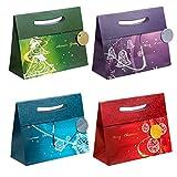 TSI 86417 Geschenkbeutel mit Hot Stamping Weihnachten Elegant, 12er Packung, Größe: Groß quer (26 x 32 x 13,5 cm)