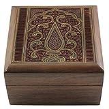 Hashcart Indian Artisan, handgefertigte und handgefertigte Schmuckschatulle aus Holz mit traditionellem Design und Messing-Inlay-Arbeiten