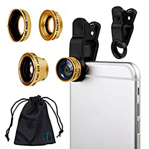 Gold Clip On 180 Degrees Portable 3 in 1 Camera Lens Kit - FishEye - Wide Angle - Macro for Sony Xperia Tablet Z