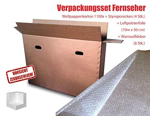 """Verpackungsset Flachbild-TV bis 48\"""" (Diagonale 122 cm) Karton, Luftpolsterfolie, doppelter Eckenschutz, Warnaufkleber"""