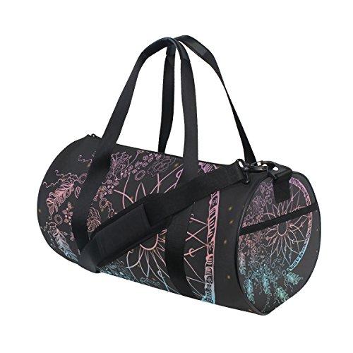 JSTEL Colorfull Atrapasueños con plumas estrellas bolsa de deporte gimnasio para hombres y mujeres bolsa de viaje de viaje