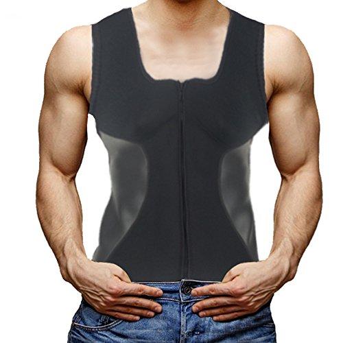 DODOING Herren Neopren Taille Trainer Weste Reißverschluss Heißer Sweat Shirt Body Shapers Korsett für Männer Schweiß Workout Fitness Westes Gewicht verlust (B Slim-gewicht-verlust)