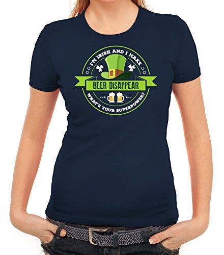 Saint Patrick's Day St. Patricks Day Damen T-Shirt I'm Irish And I Make Beer Disappear Dunkelblau