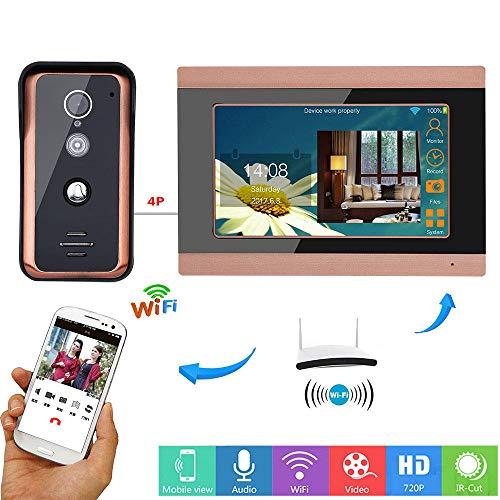 DYWLQ Wifi Video Tür 7 Zoll Telefon Türklingel Intercom Entry System mit HD IR-CUT Kamera Nachtsicht, Unterstützung Remote APP Intercom, Entsperren, Aufnahme (Tür-entry-system)