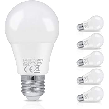 Hengda 8W A60 Bombilla LED esférica E27 ,equivalente a 60W, Blanco neutro 4000K,Pack de 6 Unidades [Clase de eficiencia energética A+]