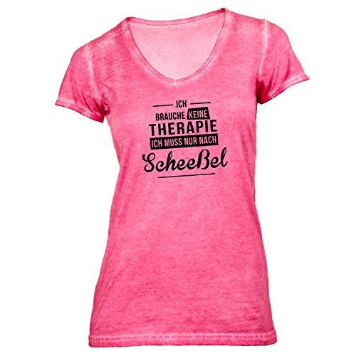 Damen T-Shirt V-Ausschnitt - Ich Brauche Keine Therapie Scheeßel - Therapy Urlaub Deutschland Hellrot