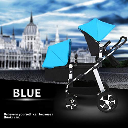 GHH Double Strollers Baby Pram Tandem Buggy Newborn Pushchair Ultra Light Folding Child Shock Absorber Trolley Can Sit Half Lying 0-3 Years Old(Maximum Loadable 50Kg Baby),Platinum/blue  CBDFG