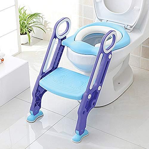 KEPLIN Riduttore WC per Bambini con Scaletta Pieghevole, Kit Toilette Trainer Step Up con Cuscino Tenero Modello Universale (Azzurro)