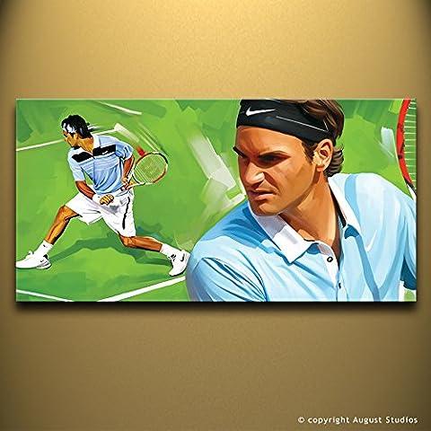 Roger Federer tennis originale Artista firmato pittura poster Stampa Su Tela # 1, 36