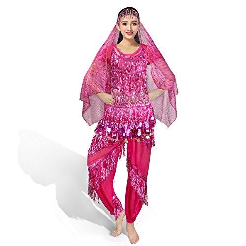 nell Bauchtanz Kostüm indischen Tanzkleidung Oktoberfest Halloween Karneval Fasching Darbietungen Tanzkostüme,Das Obere + Pluderhosen + Bauchkette + Kopftuch Rosa (Halloween-kostüme Dancewear)