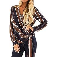 Hanomes Damen pullover, Mode Damen V-Ausschnitt Streifen Bandage Long Sleeves T-Shirt Bluse Tops preisvergleich bei billige-tabletten.eu