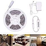 LEDMOMO Lichtleiste, 5M LED 2835 Lichtleiste LED Lichtleiste Streifen Licht mit Netzteil für Spiegel TV Hintergrund Dekoration mit EU-Stecker (weiß)