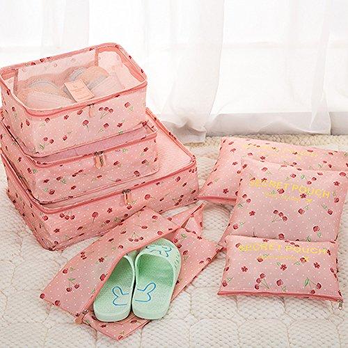 Belsmi Reise Kleidertaschen Set 7-teilig Reisetasche in Koffer Reisegepäck Organizer Kompression Taschen Kofferorganizer Mit Schuhbeutel (Grün) Rosa Dot
