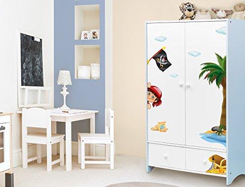 I-love-Wandtattoo ILWS-19-008 Kinderzimmer Möbelsticker Set Pirat zum Kleben Möbeltattoo Möbelaufkleber Möbeldeko Sticker Seeräuber (Schrank Insel)