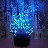 Moto Acrobazia 3D Led Night Light 7 Cambia colore bambini Camera da letto Accanto a Sleeping Lighting