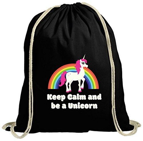 Einhorn natur Turnbeutel mit Rainbow - Keep Calm And Be A Unicorn Motiv von ShirtStreet schwarz natur