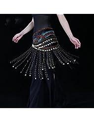fait main femmes chaîne de taille egypte ventre danse echarpe de hanche tribal écharpes emballage tribal tassels pièce d'or ceinture de jupe