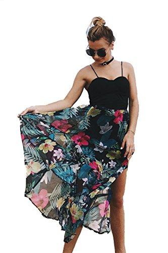 Vruan Beach ärmelloses Sommerkleid für Frau Blumen Chiffon Backless Sundress Spitze Casual BOHO Kleider 9 Farbe Size 32-38