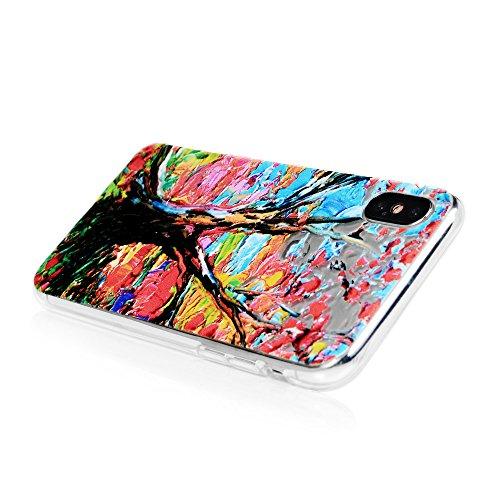 MAXFE.CO Schutzhülle Tasche Case für iPhone X TPU Silikon Cover Gemalt Glatt Muster Etui Protective Schale Bumper Baum Baum
