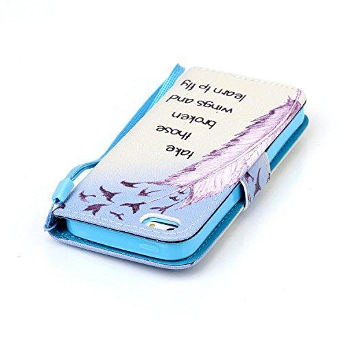 Meet de Apple iPhone 5C Bookstyle Étui Housse étui coque Case Cover smart flip cuir Case à rabat pour Apple iPhone 5C Coque de protection Portefeuille - Have a nice day take those broken wings and learn to fly