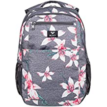 Roxy Here You Are Mochila Mediana, Mujer, Rosa/Gris (Charcoal Heather Flower
