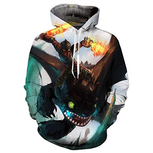 Muswanna87 Fashion 3D Printed How to Train Your Dragon Light & Night Fury-Kostüme Kapuzenpullover The Hidden World Toothless Sweatshirts Pullover Hoodies Spring Tops Anime Cosplay Kostüm (B Typ, ()
