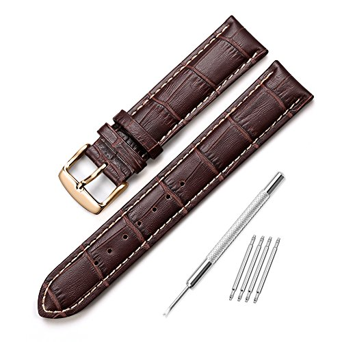 iStrap 22mm Echt Kalbsleder Armband Uhrband Ersatz Watch Strap Ersatzarmband mit Roségold Edelstahl Schließen Baun Gerben Naht