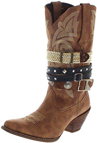Braun Rindsleder Western-boot (Durango Boots DRD0122 ACCESSORIZE Tan Damen Cowboystiefel Braun Westernstiefel Damenstiefel, Groesse:41 (9 US))