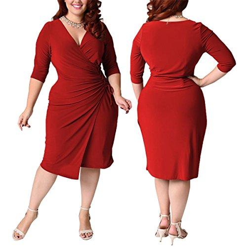 Unique Womens Black V Neck Robe cintree Mode Party Femmes Robe de cocktail red
