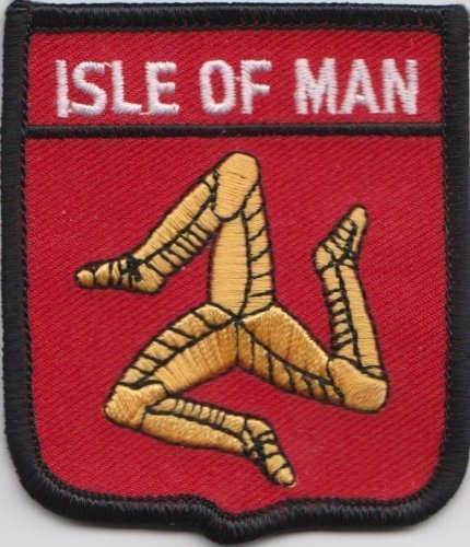 Isle of Man Manx Flagge bestickt Patch Badge (Kostenlos Flag Mens)
