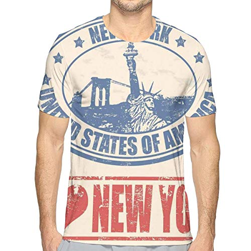 3D Printed T Shirts for Mens,Vintage I Love New York with Statue of Liberty Grunge Rubber Stamps Design L - High I Fashion Love Monster