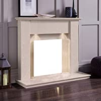 "Cream Marble Stone Surround Gas Fireplace Suite with Downlights - 1"" rebate"