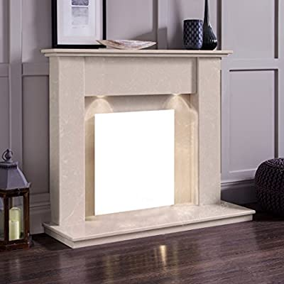 """Cream Marble Stone Surround Gas Fireplace Suite with Downlights - 1"""" rebate"""
