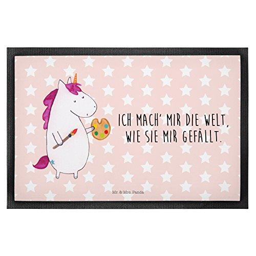 Mr. & Mrs. Panda Fußmatte Einhorn Künstler - 100% handmade in Norddeutschland - Einhorn, Einhörner, Englisch, Künstler, Unicorn, Artist, Malen, Zeichnen, Welt, Farbe, Stift, Pinsel, Geschenk, Maler Fußmatte, Türvorleger, Schmutzmatte, Fussabtreter, Matte, Schmutzfänger