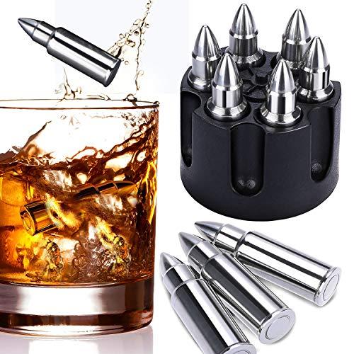 VISTION Whisky Eiswürfel Steine, 6 Bullet Shape Edelstahl Eiswürfel Wiederverwendbar kühlwürfel, Ice Cubes Kühlsteine Bar Zubehör Geschenkset für Scotch Whisky, Wodka, Gin, Cocktail und Mehr Getränke