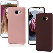 Coque Samsung Galaxy A5 2016 MAXFE.CO Transparent Etui Silicone TPU Housse Protection Mince Souple et Flexible Original Motif Case Cover Coque pour Samsung A5 2016 - Or Rose + Rouge