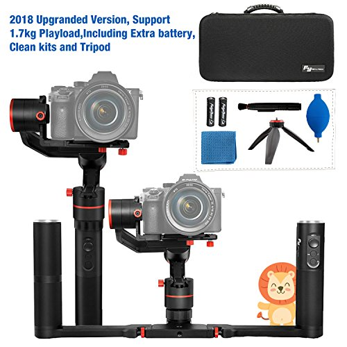 Feiyu A1000 3 Axis Handheld Gimbal Stabilizer with Dual Handheld Grip for Cameras ic Including Extra Batteries and Tripod -