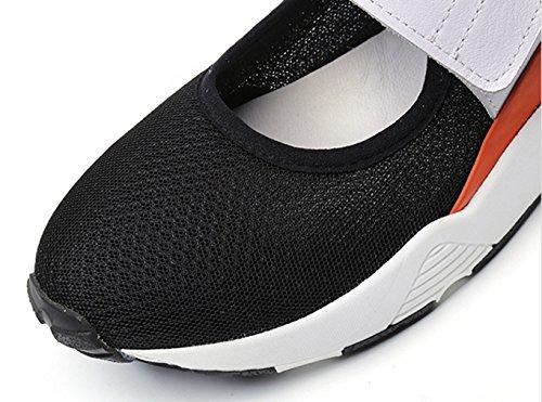 Damen Slipper Klettverschluss Mesh-oberfläche Atmungsaktiv Rundzehen Dicke Sohle Aufzug Freizeitschuhe Modische Schuhe Schwarz