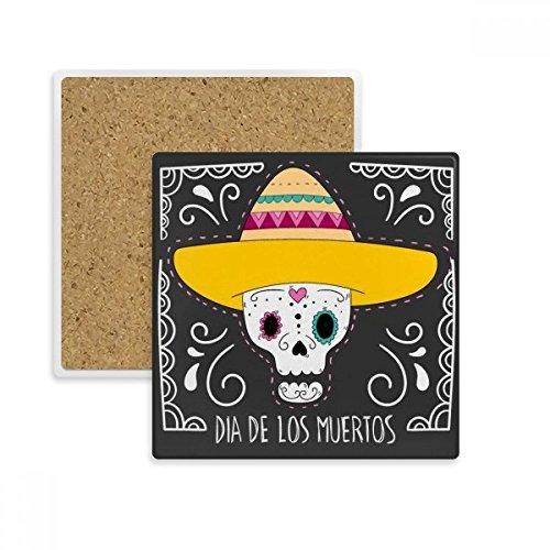 DIYthinker Hat Schädel Mexiko Glücklich Der Tag des Toten Platz Coaster-Schalen-Becher-Halter Absorbent Stein für Getränke 2ST Geschenk ()