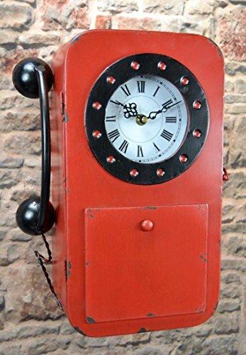 Schlüsselkasten Schlüsselschrank 35 cm hoch Metall Retro Vintage mit Uhr und Telefon LV5099 (Rot)