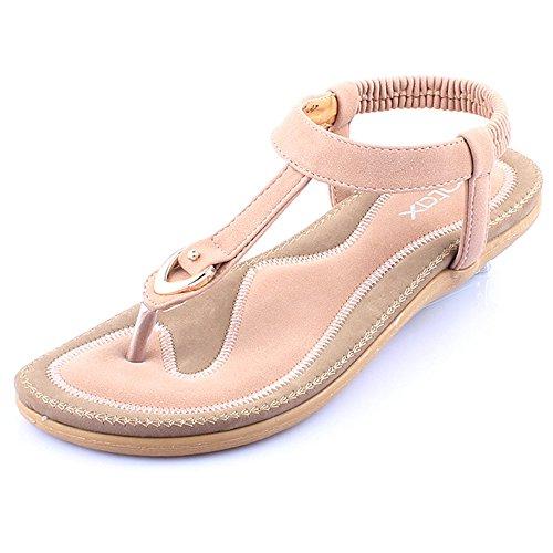 Minetom Donne Ragazze Estate Spiaggia Sandali T-Strap Peep Toe Morbido Fondo Sandali Tallone Flat Scarpe Pink