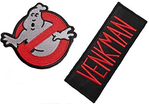 Patch Kostüm Ghostbusters - Zebra Patch [2 stück] * GHOSTBUSTERS logo und VENKMAN Nametag Namensschild Uniform Kostüm Aufnäher Abzeichen zum aufbügeln