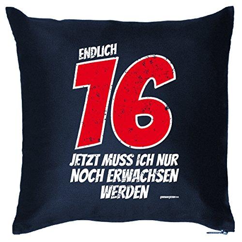 (Kissen mit Innenkissen - endlich 16 Jahre - lustiger Print - liebes Geschenk Idee zum 16 Geburtstag - 40 x 40 cm blau : ))