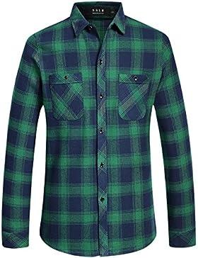 SSLR Uomo Camicie in a quadri Maniche Lunghe Slim Fit Stile Flanella Casual