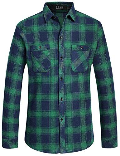 Sslr uomo camicie in a quadri maniche lunghe slim fit stile flanella casual (large, verde)